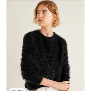 Mango black fuzzy sweater